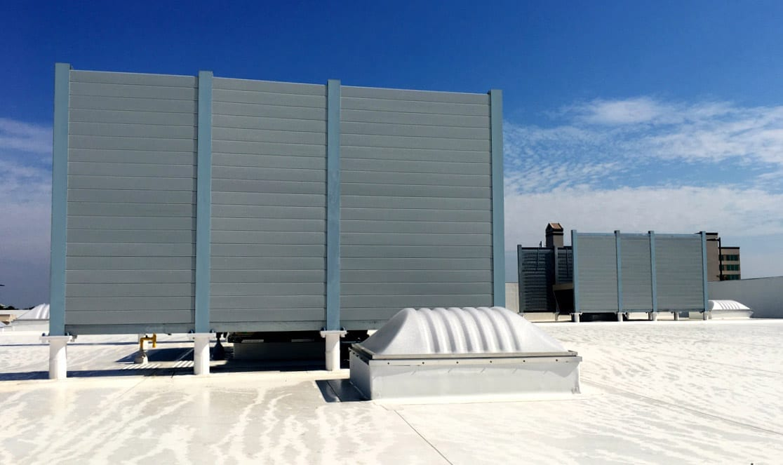 AIL-Sound-Barrier-Walls-in-commercial-rooftop-sound-wall-application